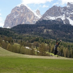 jumping in the Dolomites
