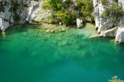 clear, turquoise water in the gorge
