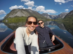 on the lake in a wooden electric boat