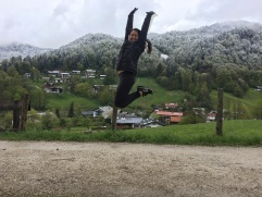 jumping for joy in Berchestgaden