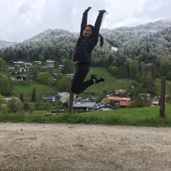 jumping for joy in Berchestgaden