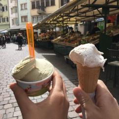 pistachio and stracciotella